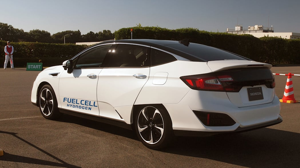 Honda FCEV hydrogen fuel cell electric vehicle rear 3/4