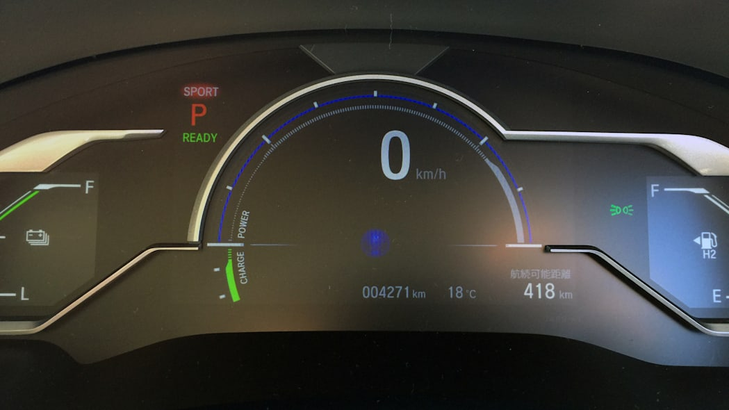 Honda FCEV hydrogen fuel cell electric vehicle dashboard