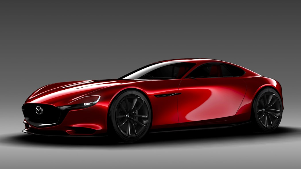 red mazda rx-vision concept gray background