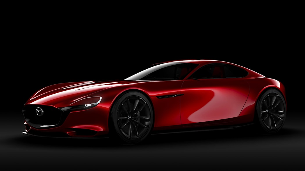 red mazda rx-vision concept black background
