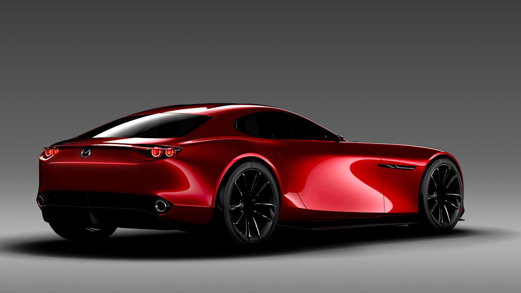 red mazda rx-vision concept rear three quarters gray background