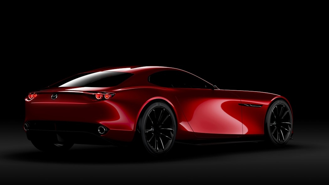 red mazda rx-vision concept rear three quarters black background