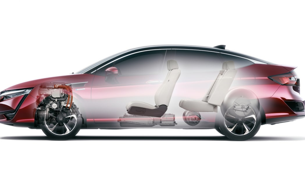 Honda Clarity Fuel Cell powretrain layout