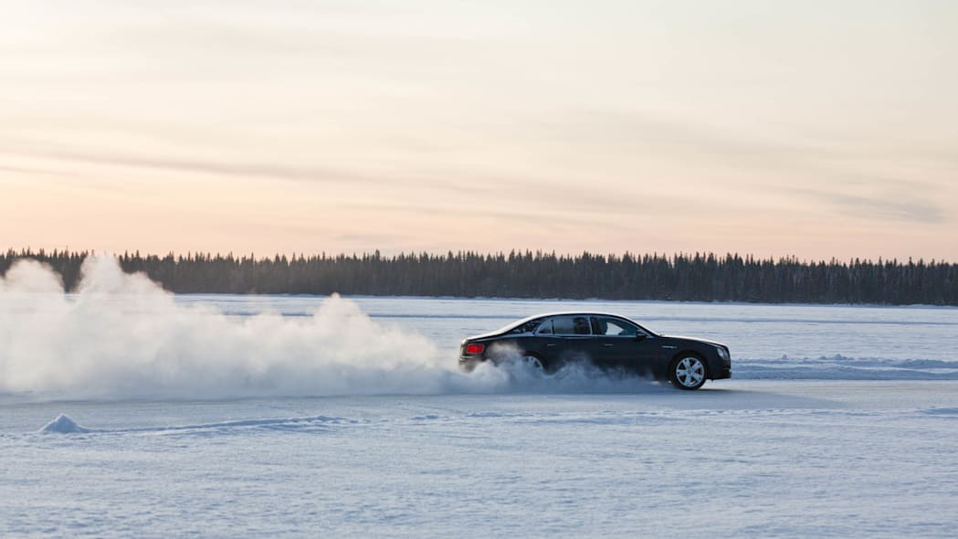 Bentley Flying Spur on ice snow