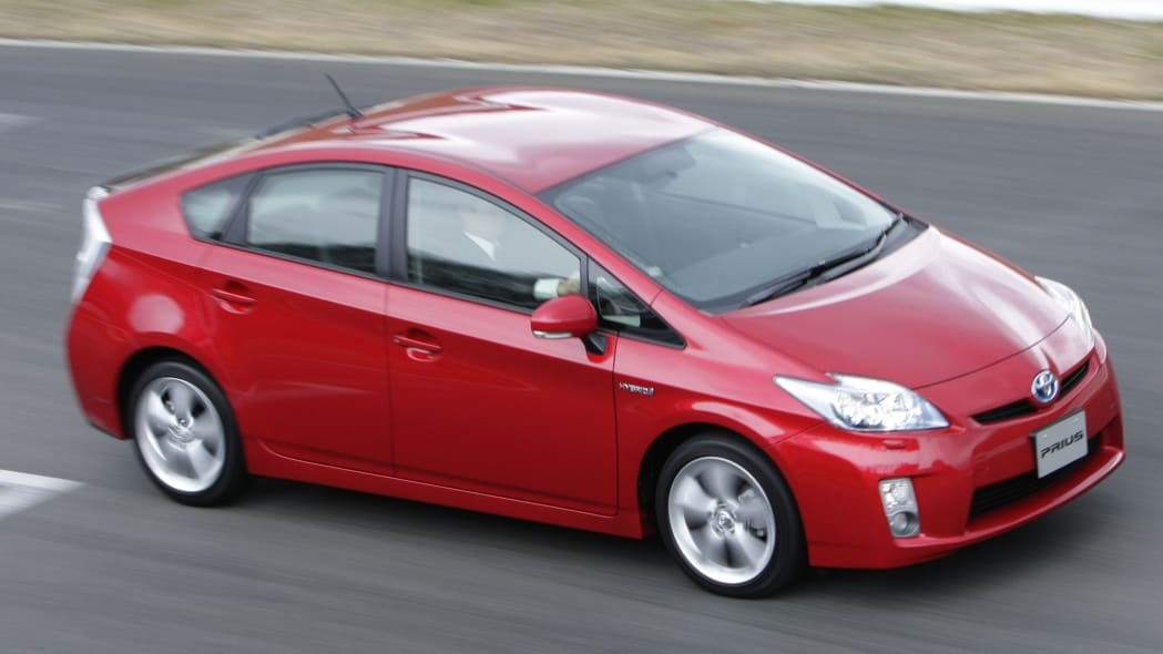 Toyota Prius hybrid hatchback in red