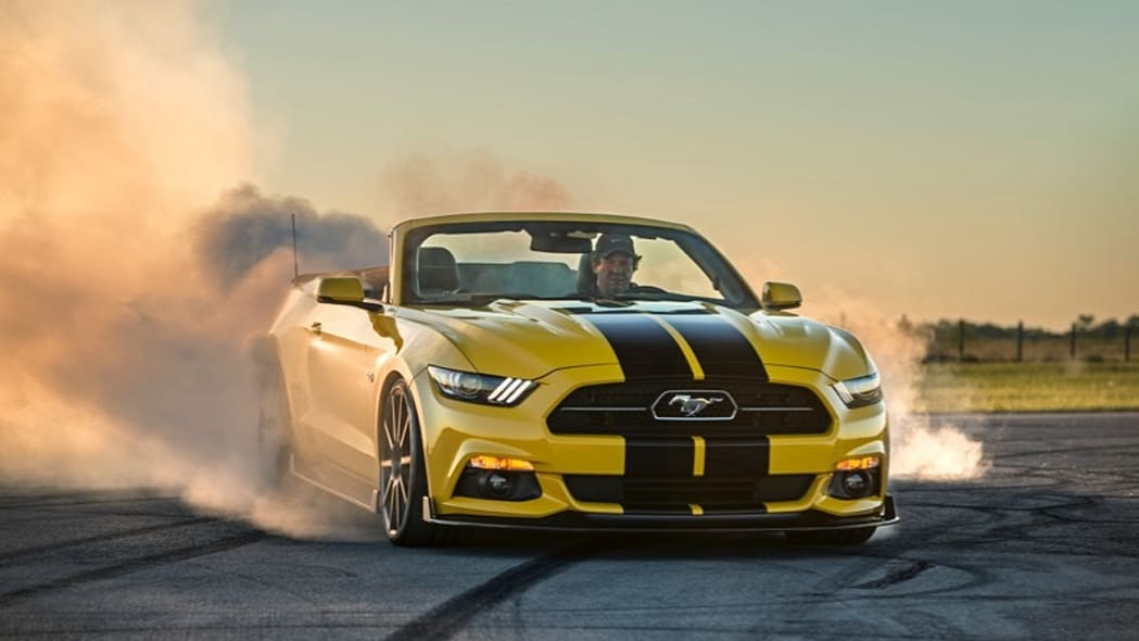 Hennessey Ford Mustang convertible front 3/4 burnout