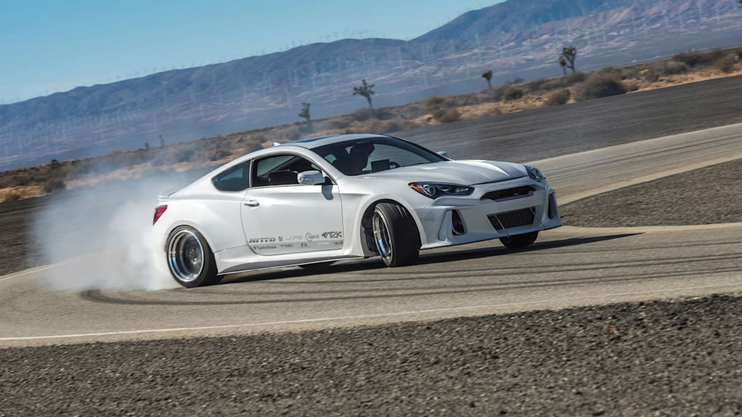 Hyundai Genesis Coupe Solus by ARK Performance drifting corner