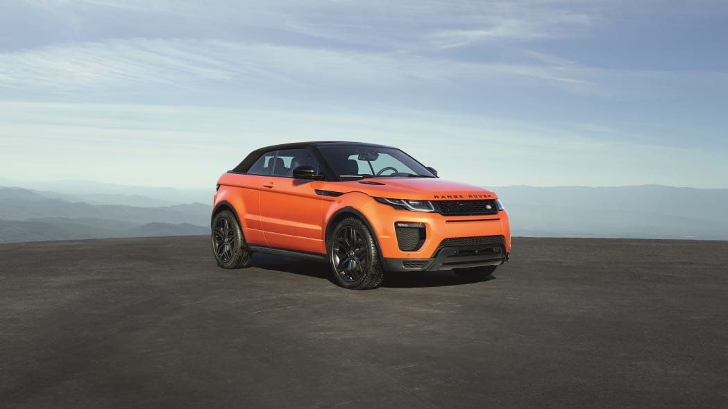 The 2017 Range Rover Evoque Convertible, front three-quarter view, top up.