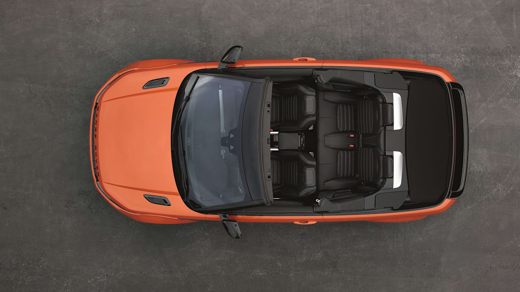 The 2017 Range Rover Evoque Convertible, overhead view, top down.