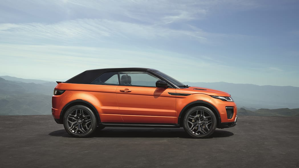 The 2017 Range Rover Evoque Convertible, side view, top up.