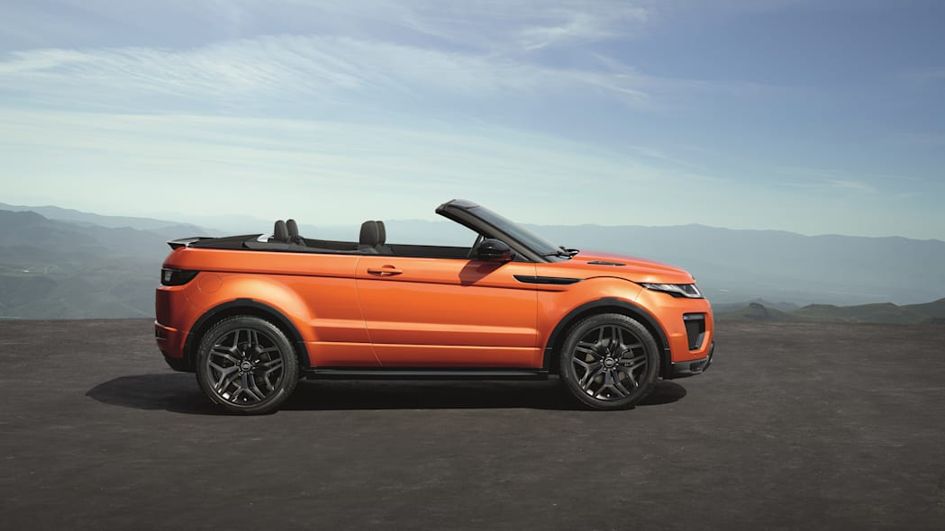 The 2017 Range Rover Evoque Convertible, side view, top down.