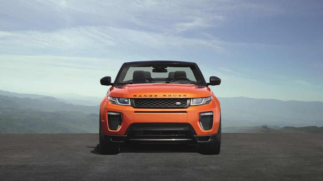 The 2017 Range Rover Evoque Convertible, front view.