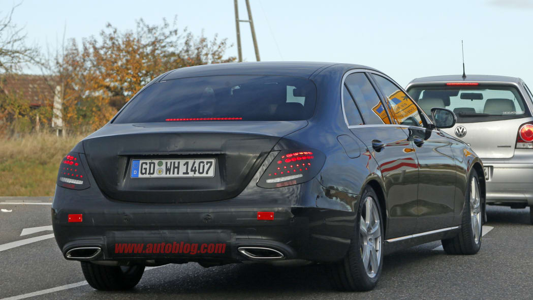The 2017 Mercedes E-Class, spy shot from the rear.