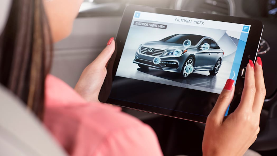 A demonstration of the Hyundai Virtual Guide, an app that uses augmented reality to display content of the owner's manual, viewing the exterior info points.