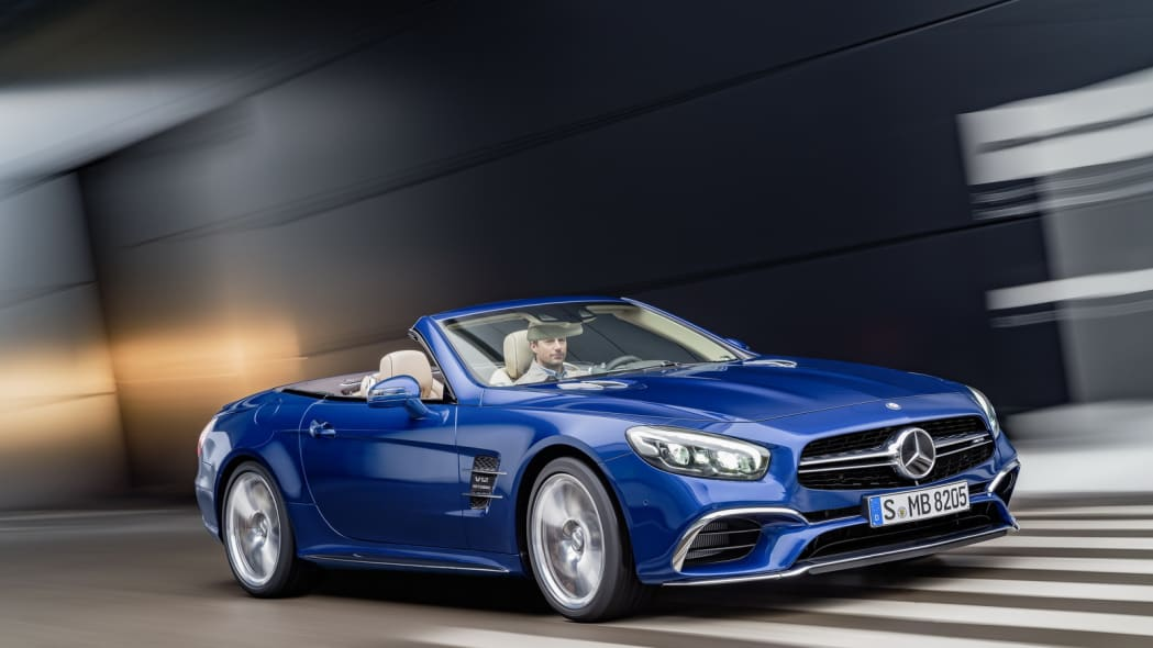 blue 2017 mercedes sl front three quarters road