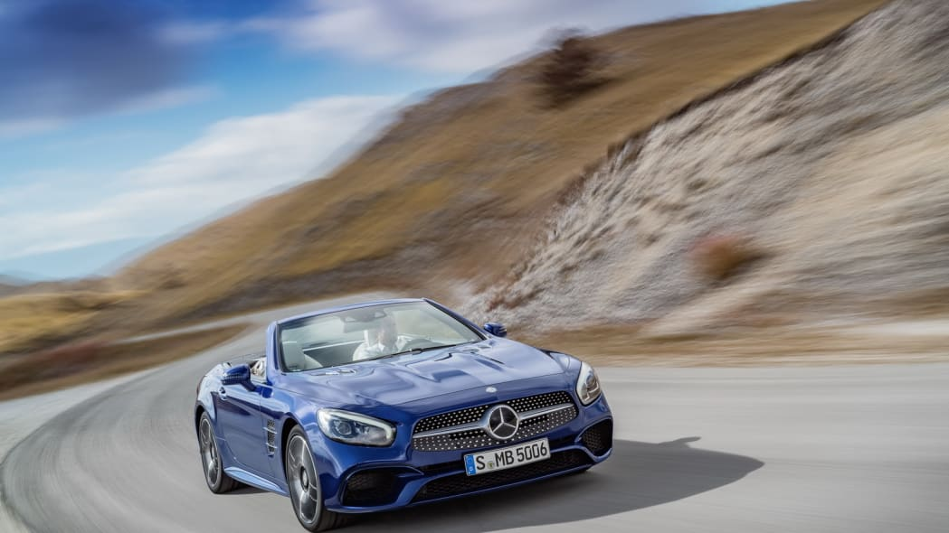 blue 2017 mercedes sl curves