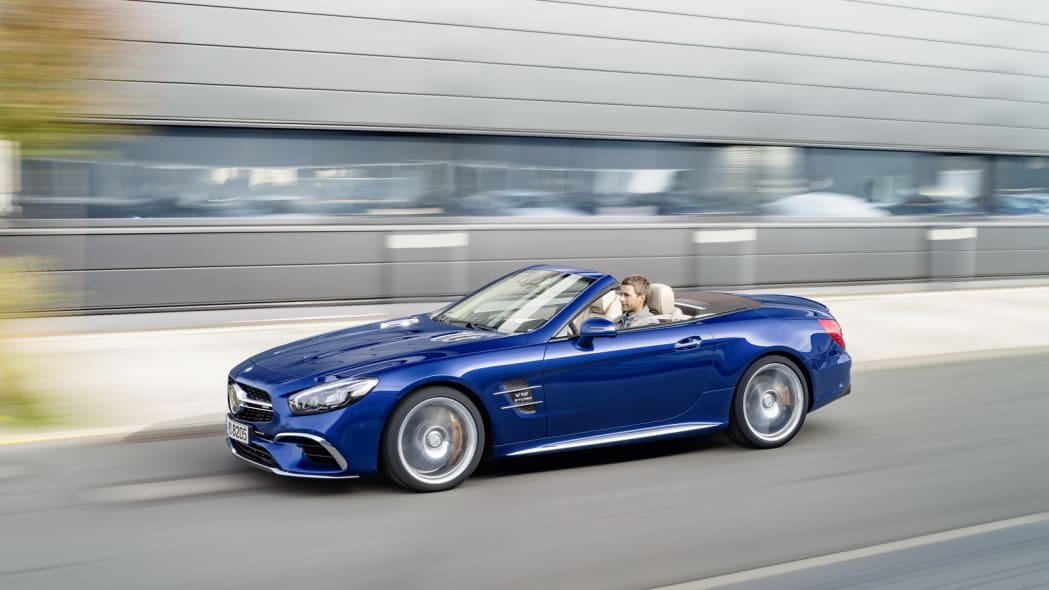 blue 2017 mercedes sl side road