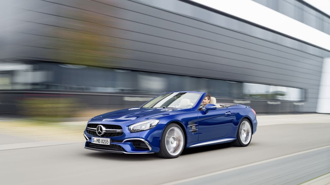 blue 2017 mercedes sl low three quarters road