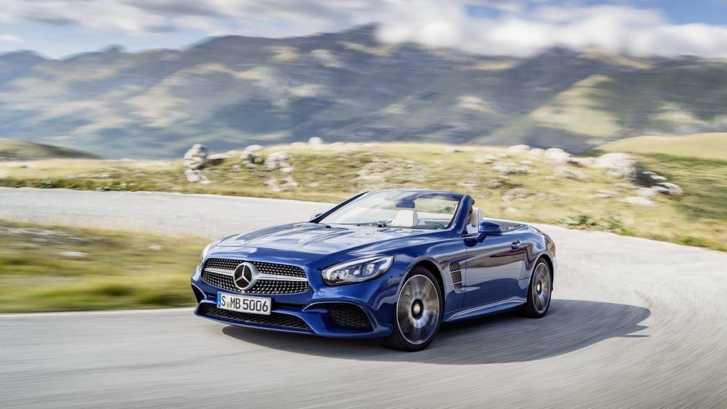 blue 2017 mercedes sl front curves