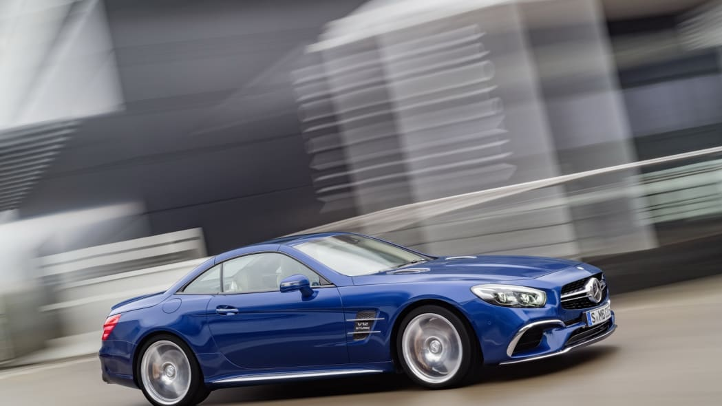 blue 2017 mercedes sl top up road