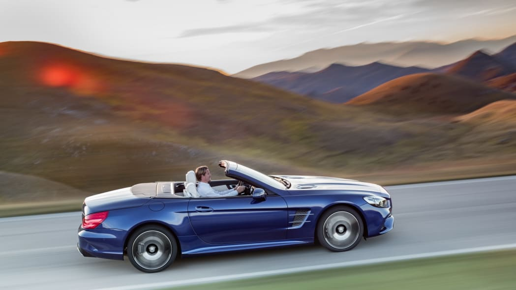 blue 2017 mercedes sl profile