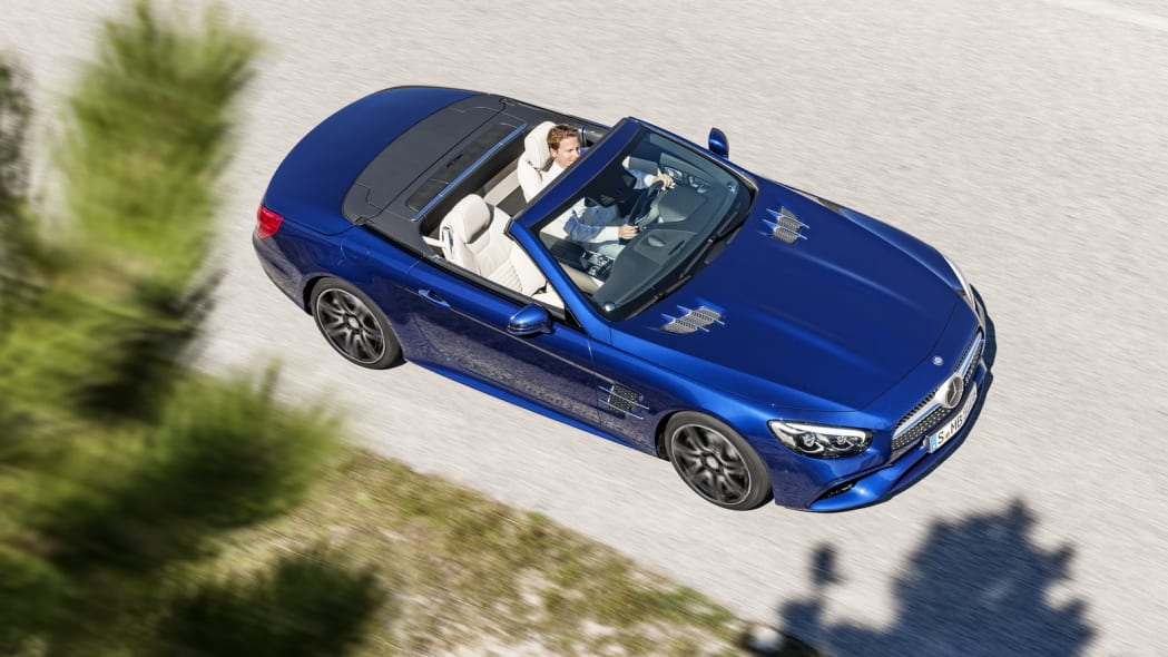 blue 2017 mercedes sl top down above
