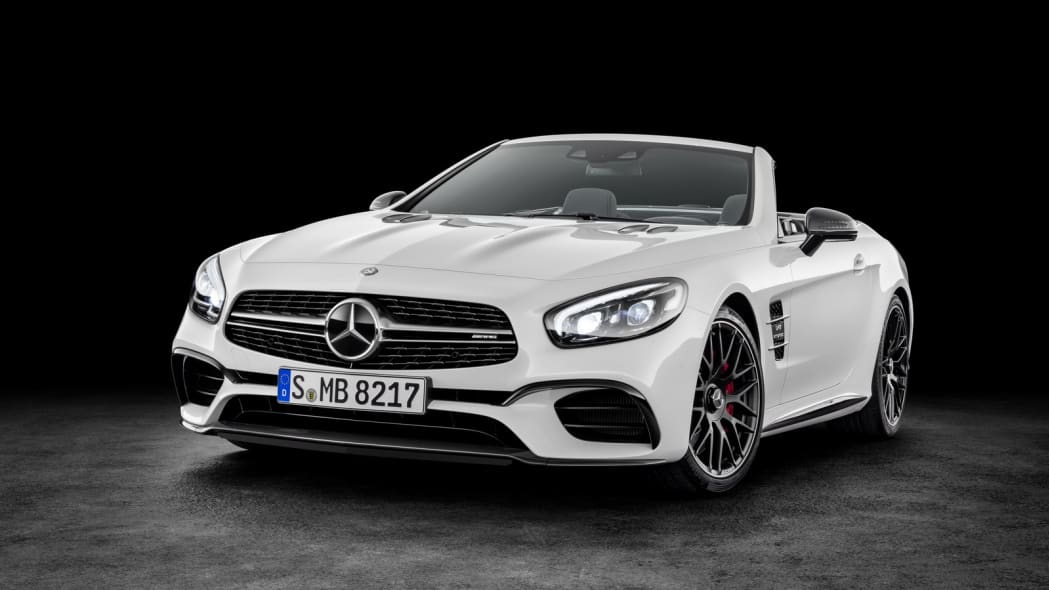 white 2017 mercedes sl front three quarters