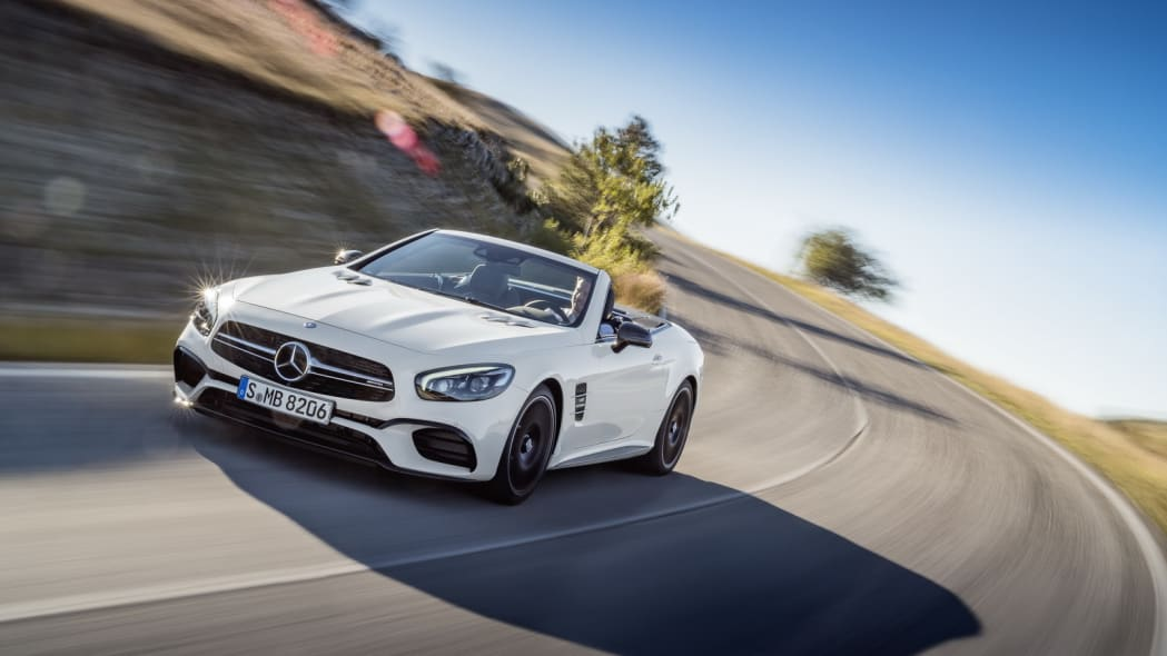 white 2017 mercedes sl  curves