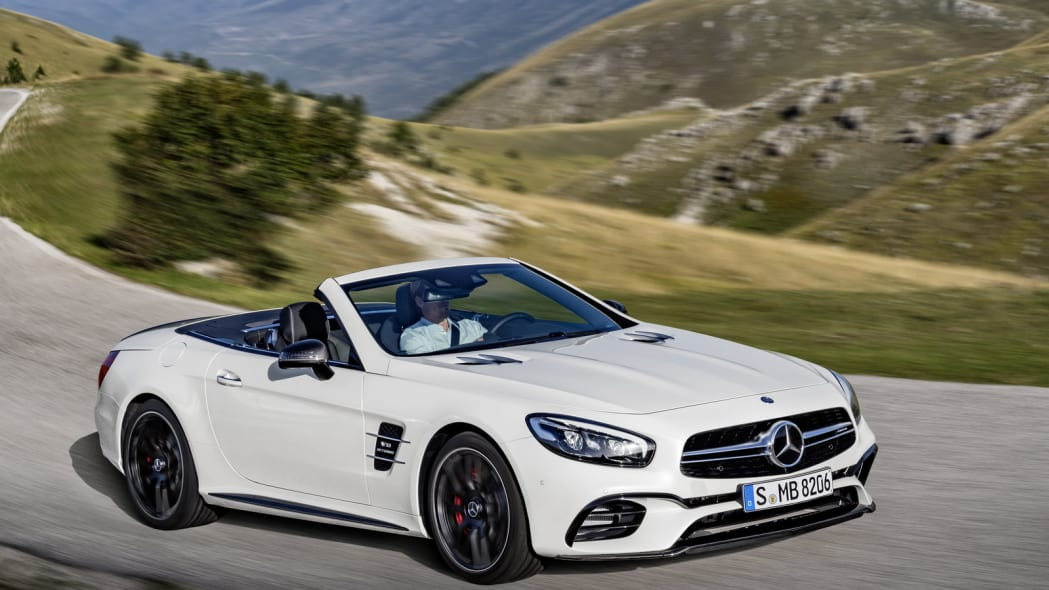 white 2017 mercedes sl mountain road
