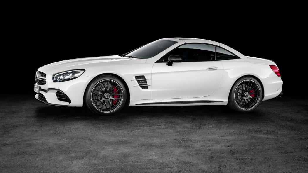 white 2017 mercedes sl side top up