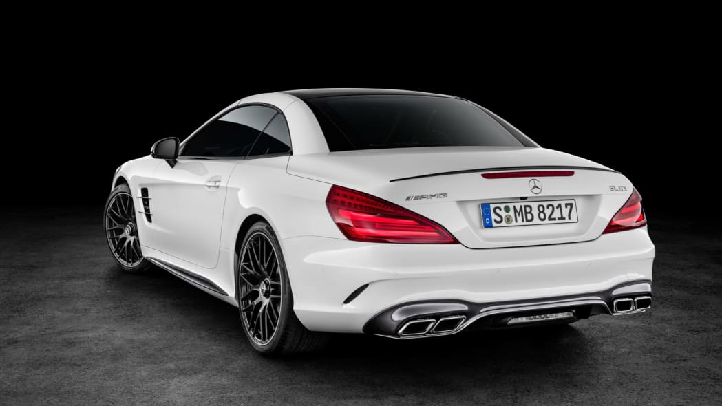 white 2017 mercedes sl rear top up