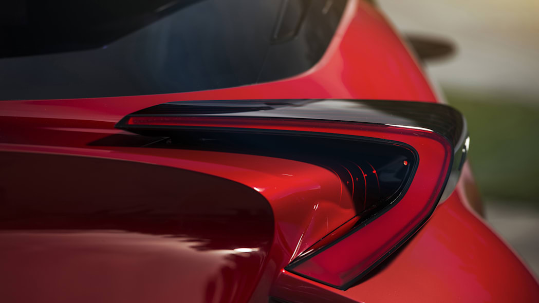The Scion C-HR concept shown off in red for the LA Auto Show, taillight detail.