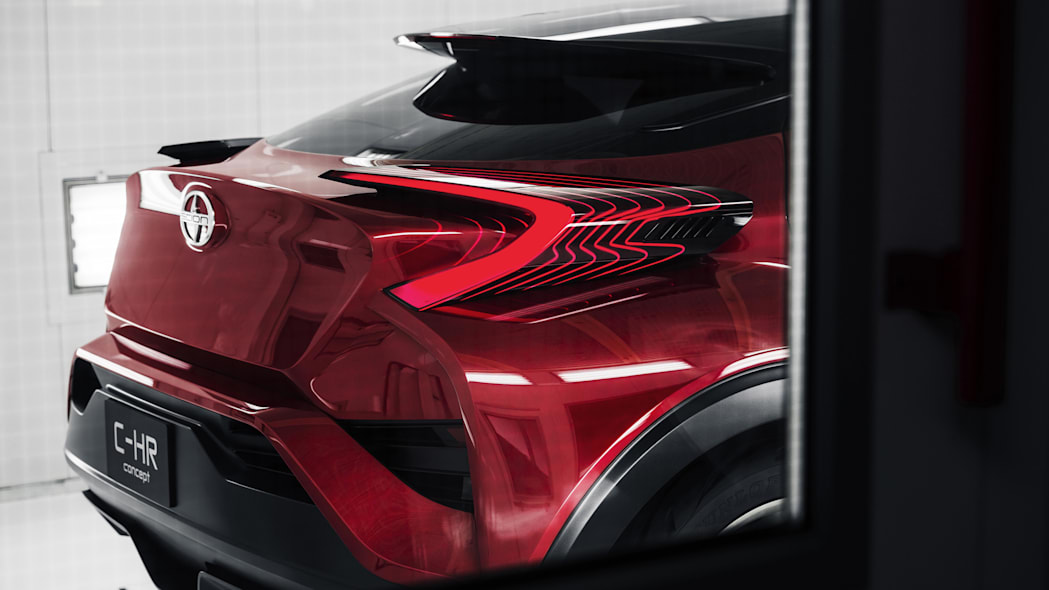 The Scion C-HR concept shown off in red for the LA Auto Show, rear hatch detail.