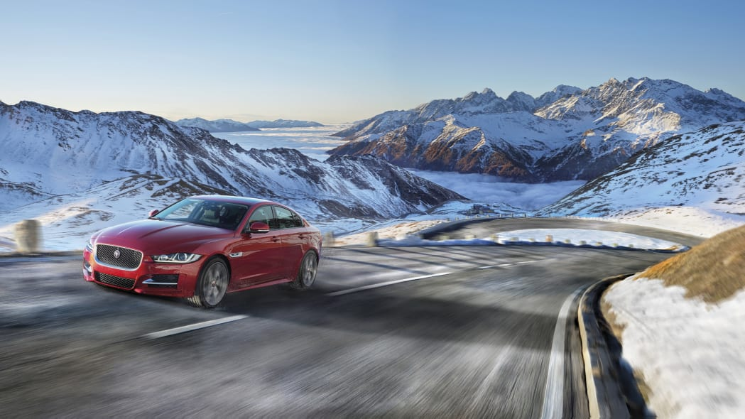 The 2017 Jaguar XE, front three-quarter dynamic in the mountains.