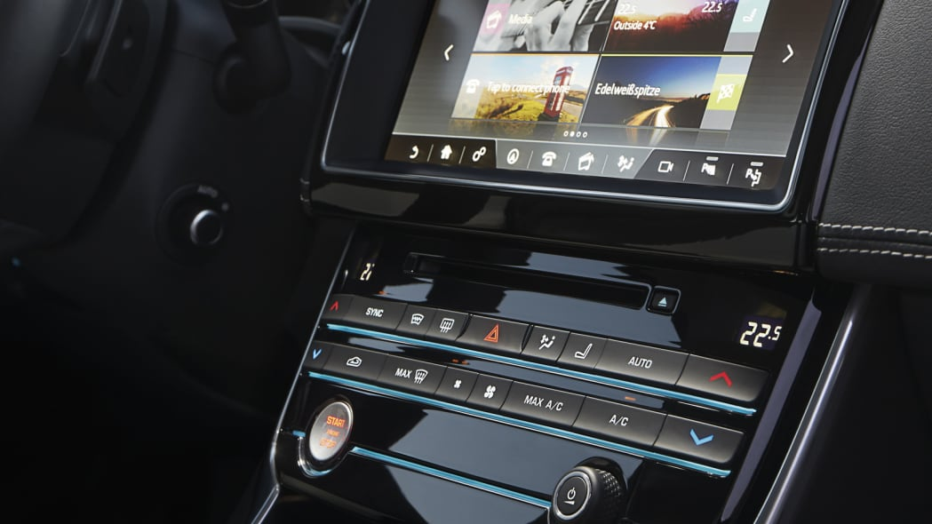 The 2017 Jaguar XE, center console with the 10.2-inch InTouch Pro infotainment system.