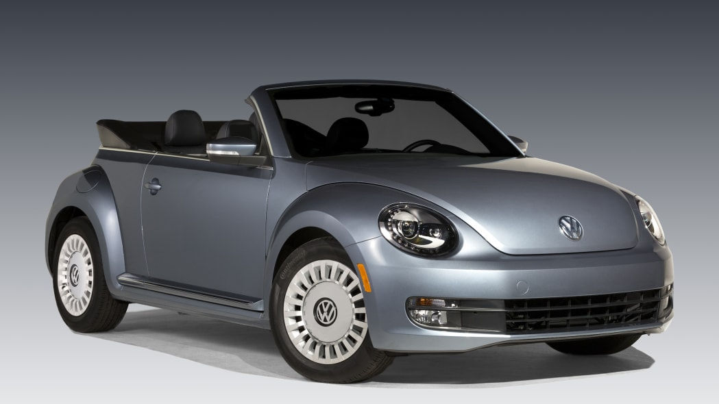 VW Beetle Denim front 3/4 with the top down