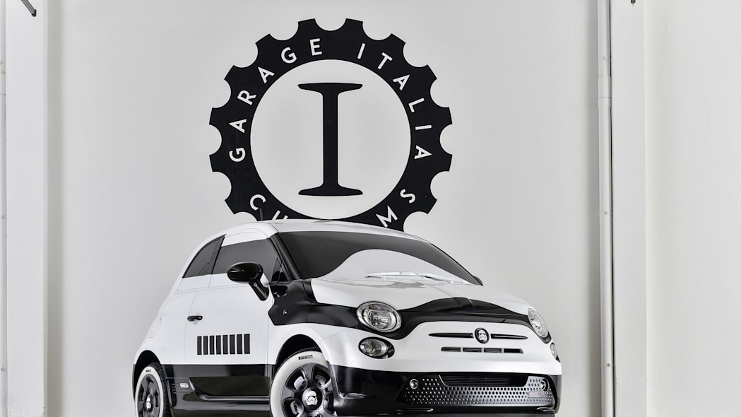 The Fiat 500e Stormtrooper, front three-quarter view.