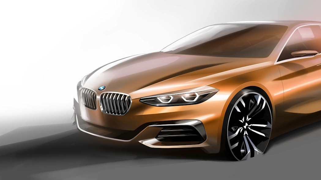 BMW Concept Compact Sedan front 3/4 rendering
