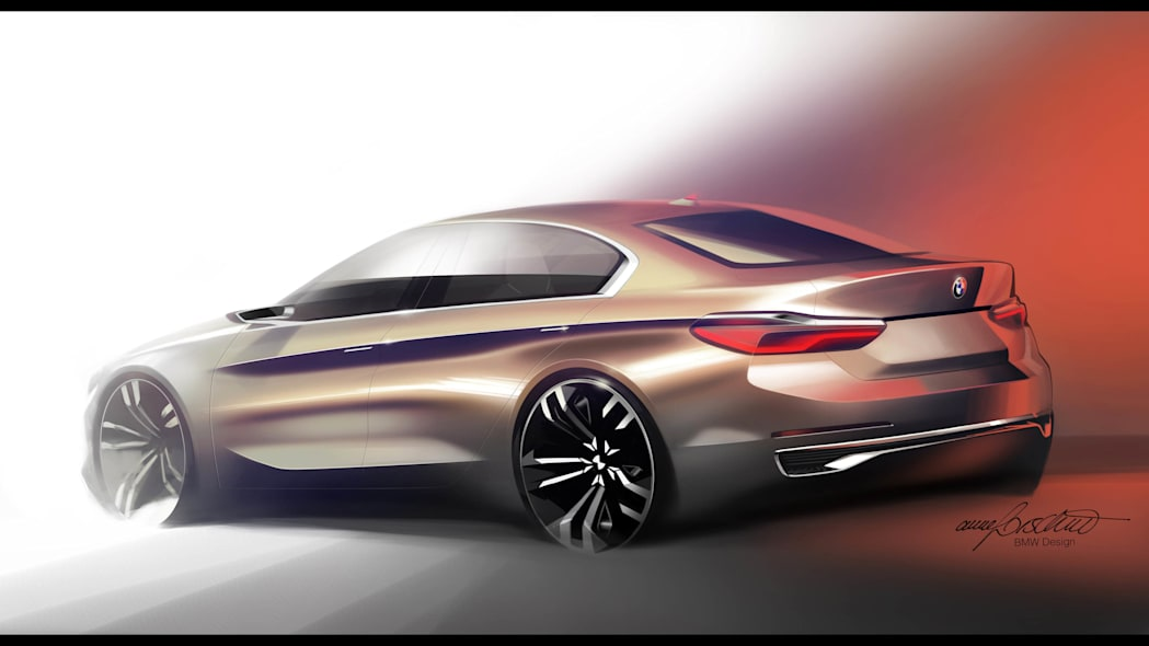 BMW Concept Compact Sedan rear 3/4 rendering