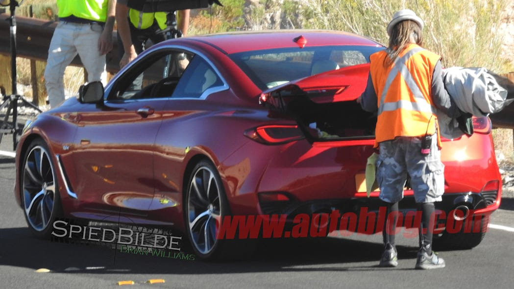 infiniti q60 coupe tail trunk open spied