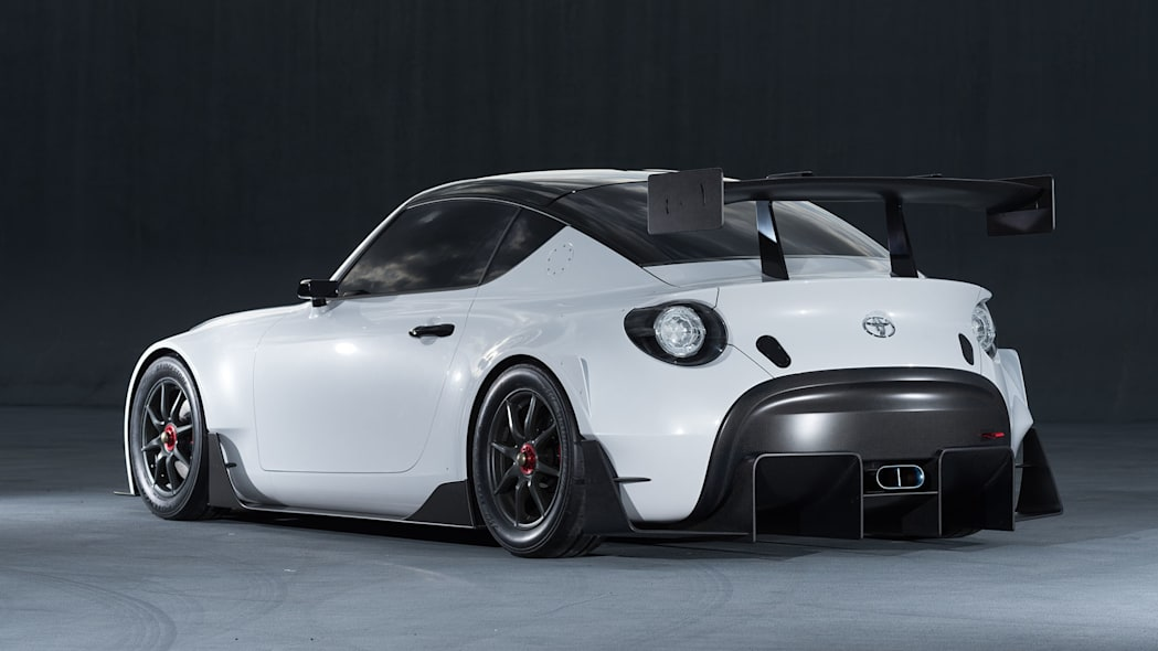 white toyota s-fr racing concept rear three quarters