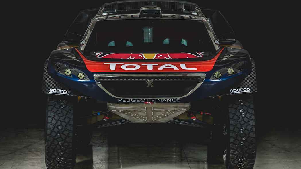 The Peugeot 2008 DKR for the 2016 Dakar Rally, front view.