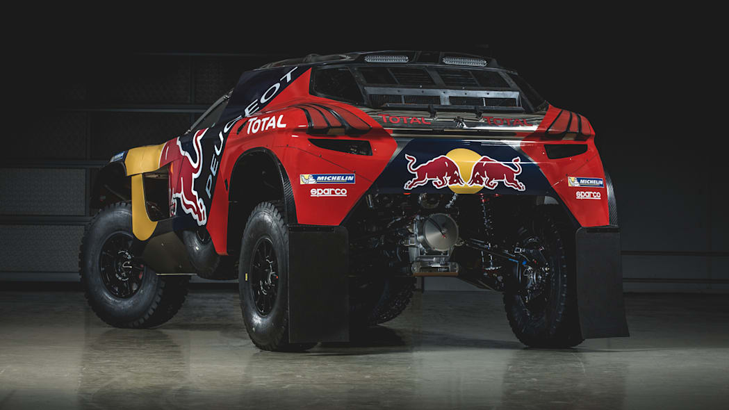 The Peugeot 2008 DKR for the 2016 Dakar Rally, rear three-quarter view.