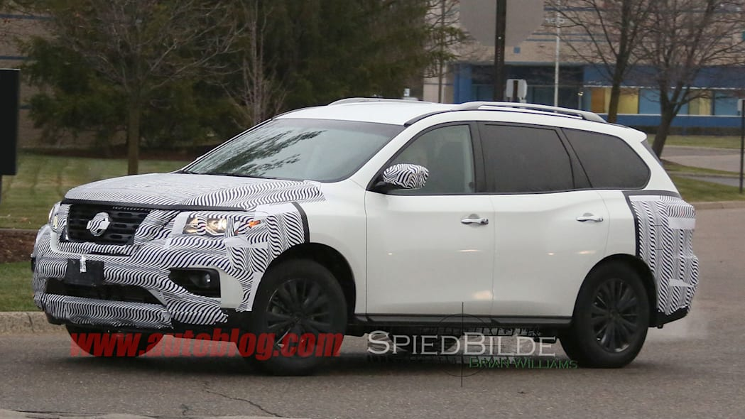 white 2017 nissan pathfinder spy shot three quarters