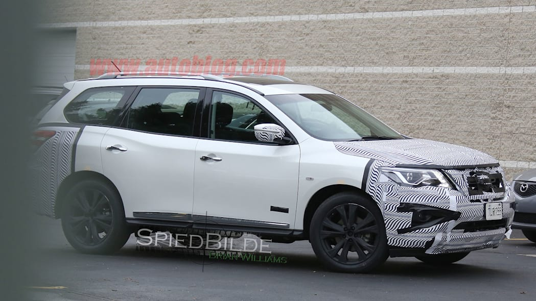 white 2017 nissan pathfinder spy shot blocked