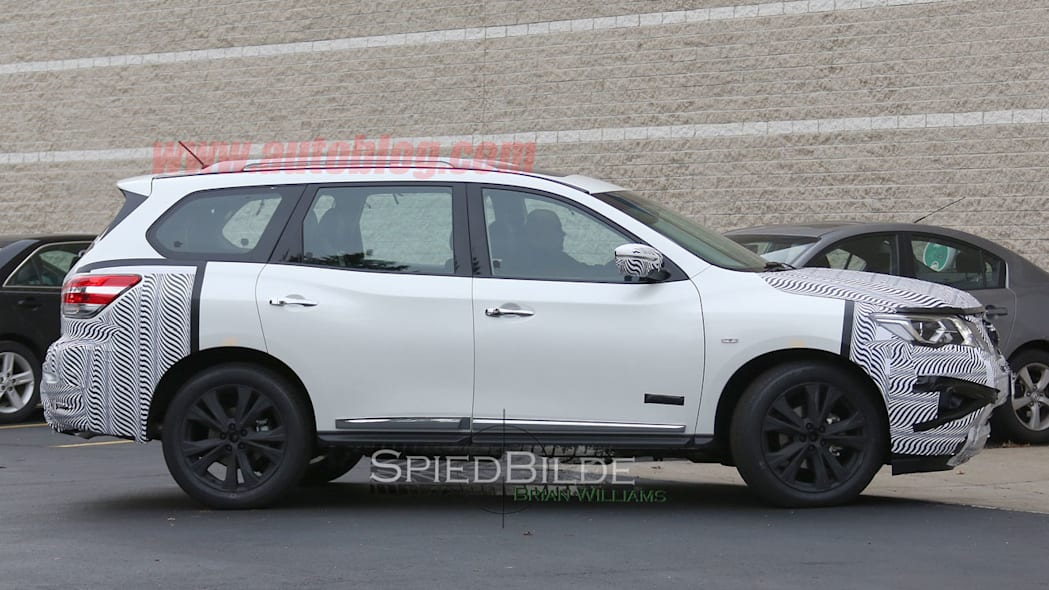 white 2017 nissan pathfinder spy shot  full side