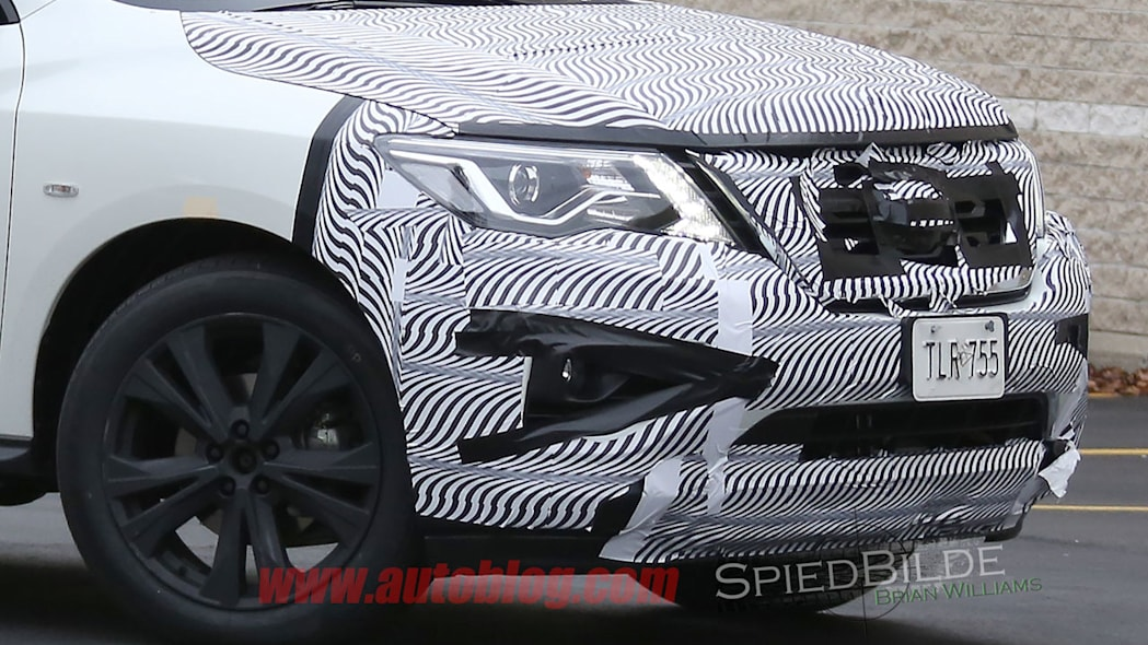 white 2017 nissan pathfinder spy shot front camo detail