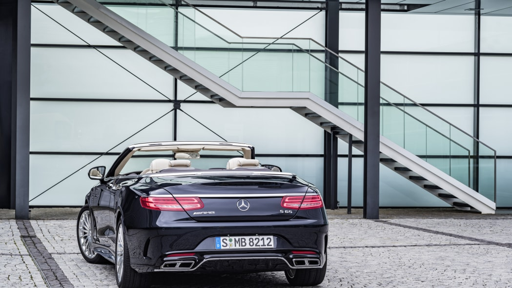 Mercedes-AMG S65 Cabriolet roof down rear 3/4