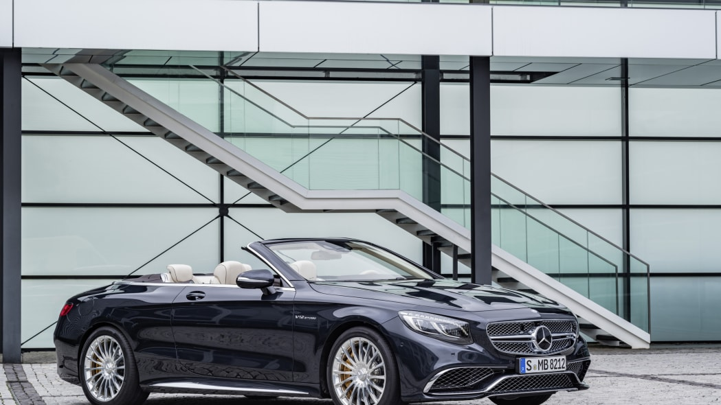 Mercedes-AMG S65 Cabriolet roof down front 3/4 static