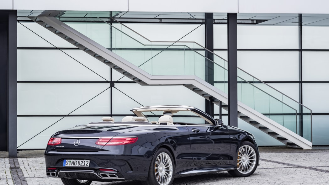 Mercedes-AMG S65 Cabriolet roof down rear 3/4 static